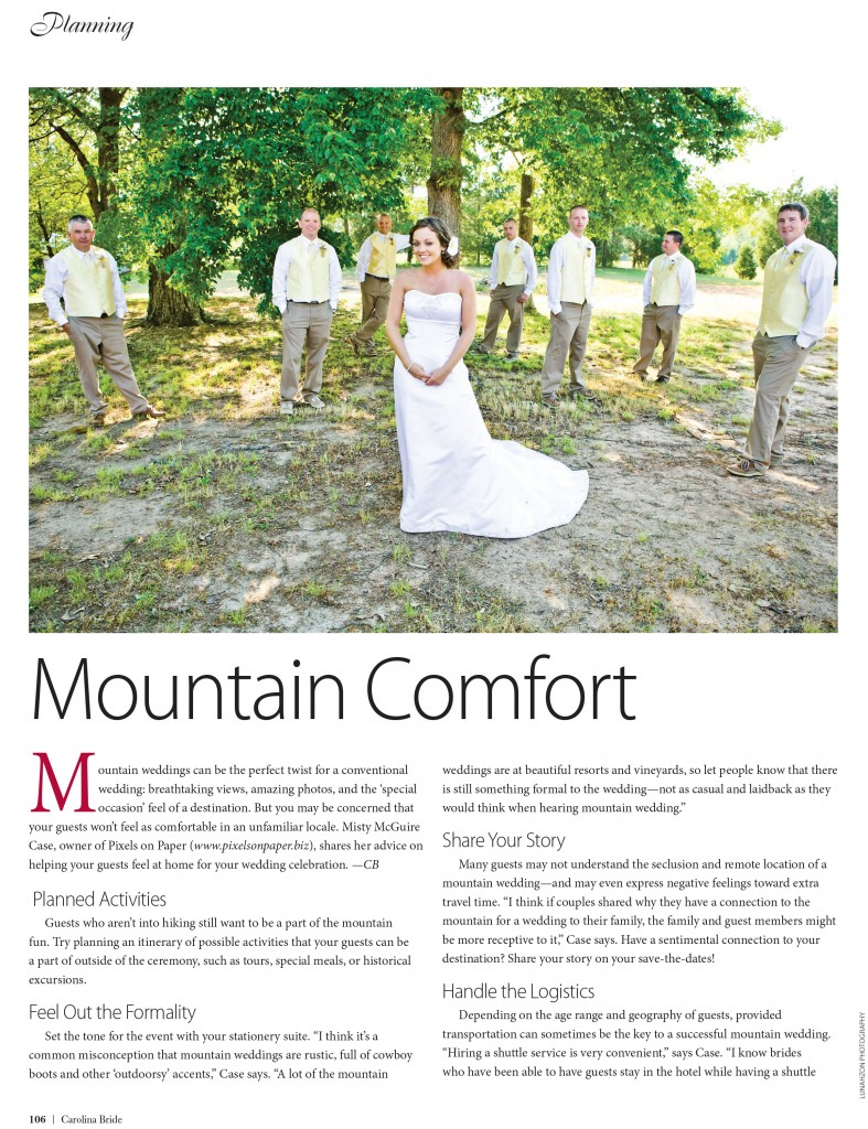 CBRIDE APR JUN 106 photo 787x1024 pixels on paper interviewed by carolina bride magazine for mountain comfort article