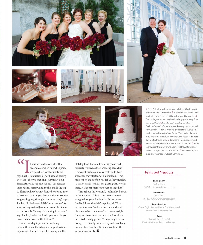 CBRIDE APR JUN 41 photo 848x1024 rachel & jeremys charlotte wedding photography featured in carolina bride magazine