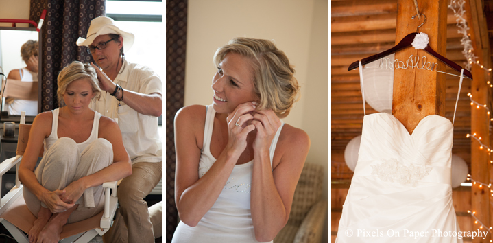 Bride preparing for outdoor country mountain wedding at big red barn in west jefferson nc photo