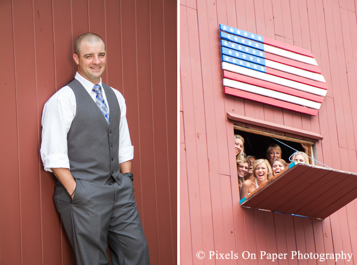 Bride and groom in barn at outdoor country mountain wedding at big red barn in west jefferson nc photo