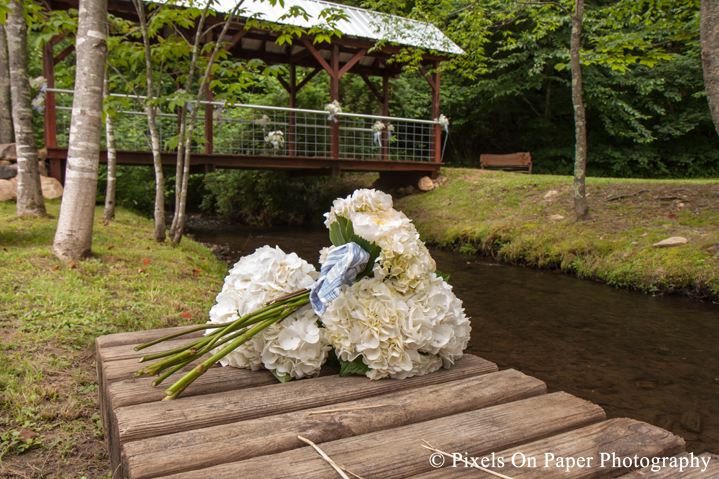 Wedding bouquets at outdoor country mountain wedding at big red barn in west jefferson nc photo