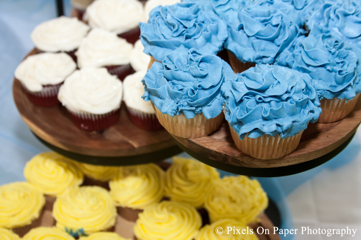 blue, yellow, and white wedding cupcakes photo
