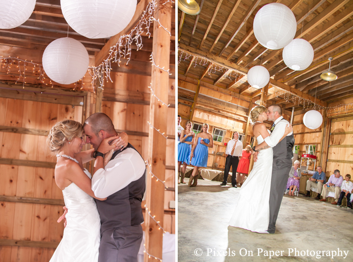 Bride and groom first dance at outdoor country mountain wedding at big red barn in west jefferson nc photo