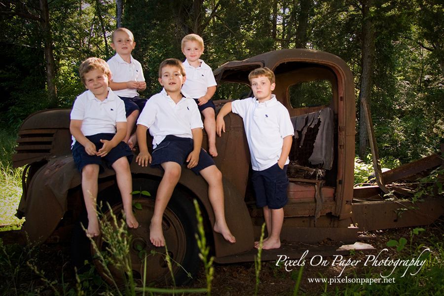 family of boys NC outdoor portrait photo