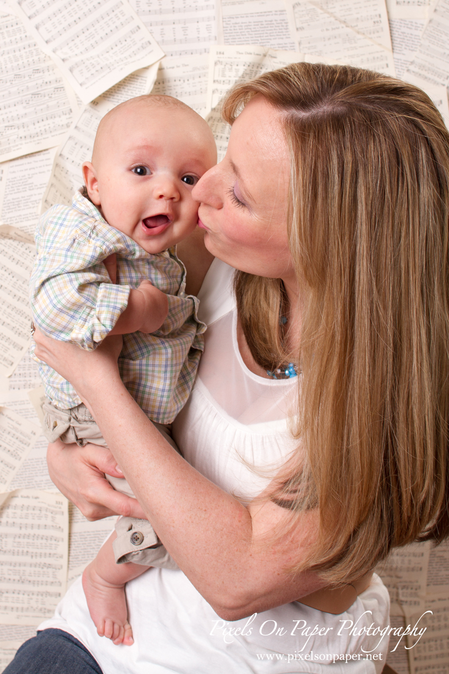 Baby Isaiah with Mom in studio portrait photo