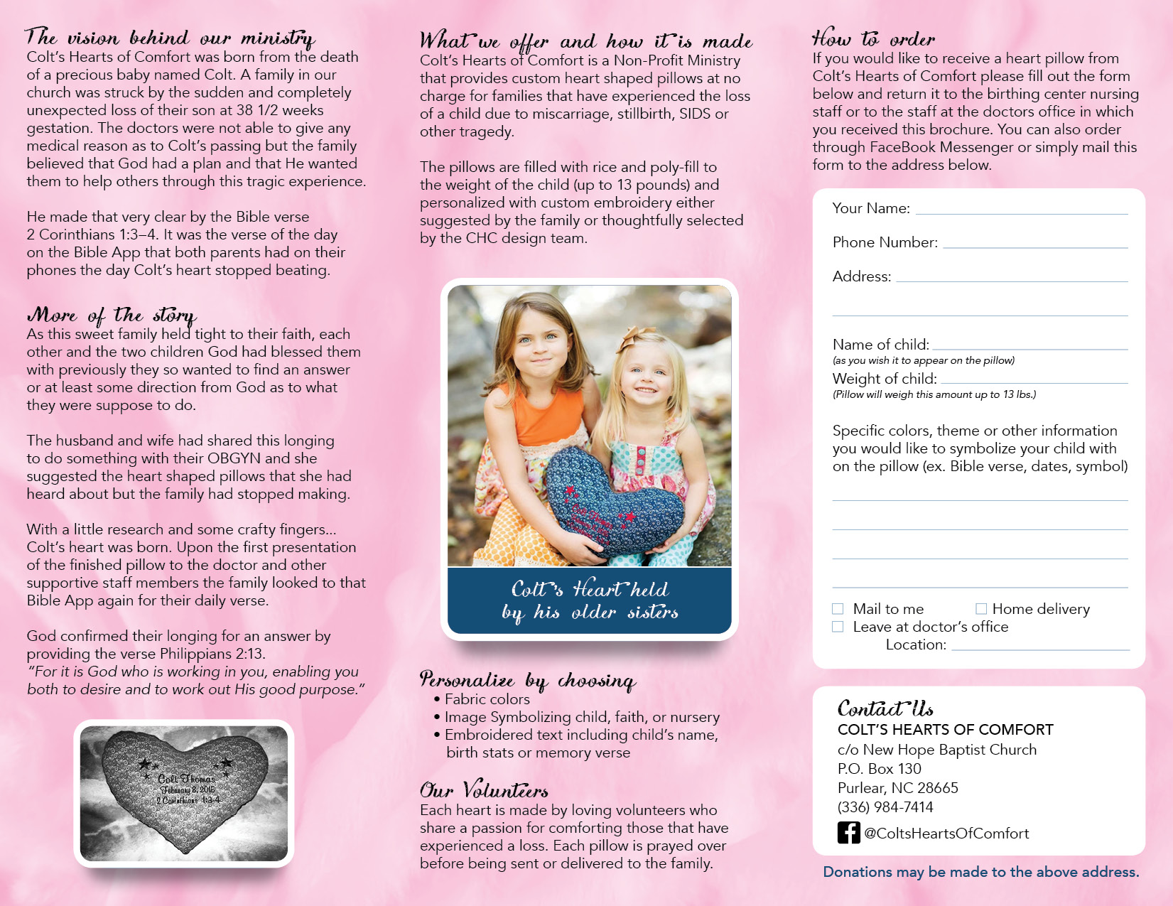 colts heart tri-fold brochure design by graphic artists pixels on paper